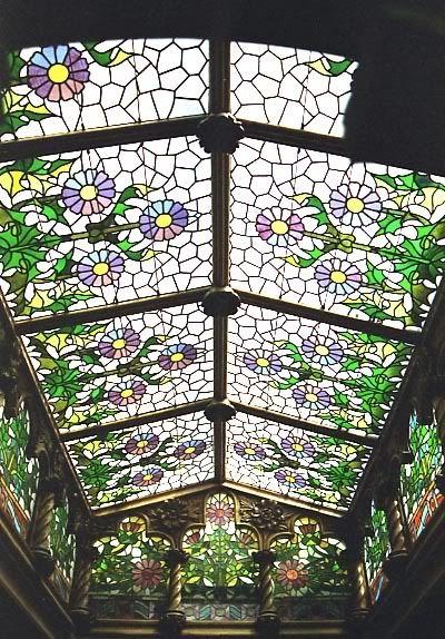 Stained glass window at Casa Navas, Catalonia, Spain.
