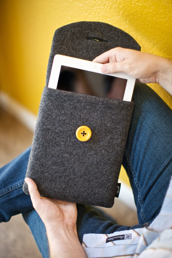 Eco-fi charcoal felt with yellow button- $35.00