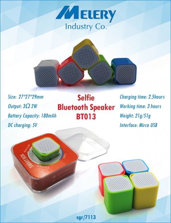 Selfie Bluetooth speaker Size:27*27*29mm Battery Capacity:180mAh Dc charging:5V Charging Time:2.5 hours Working time:3 Hours Weight:21g/51g Interface:Micro Usb