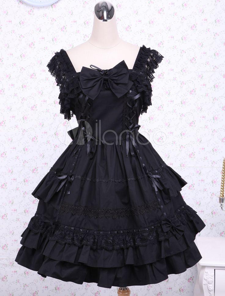 Robe à bretelles lolita en coton noir multicouche