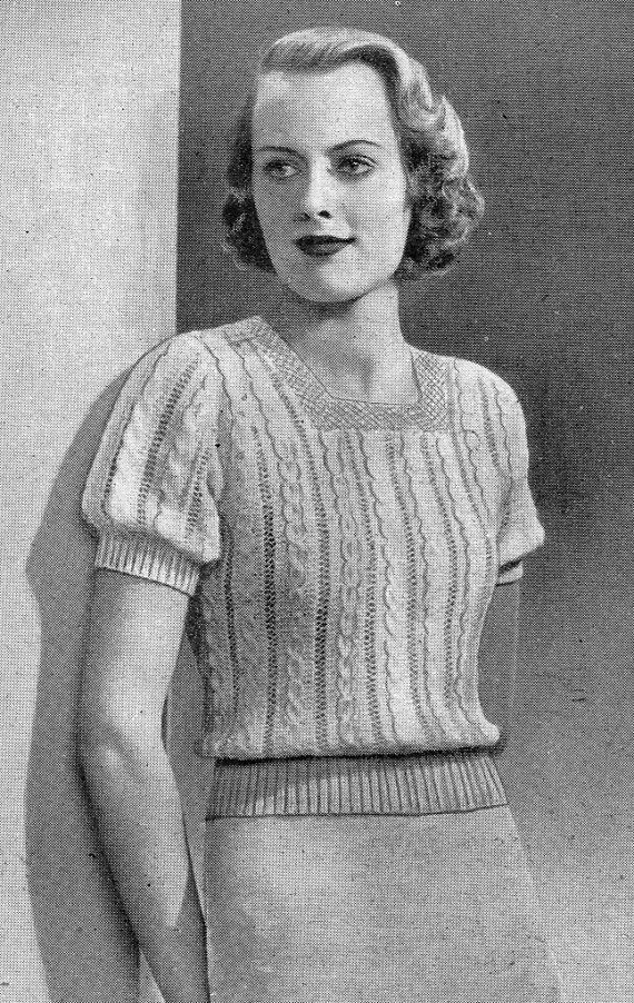 1937 Mock Cable Top Vintage Knitting Pattern 310 by knittedcouture, $4.50