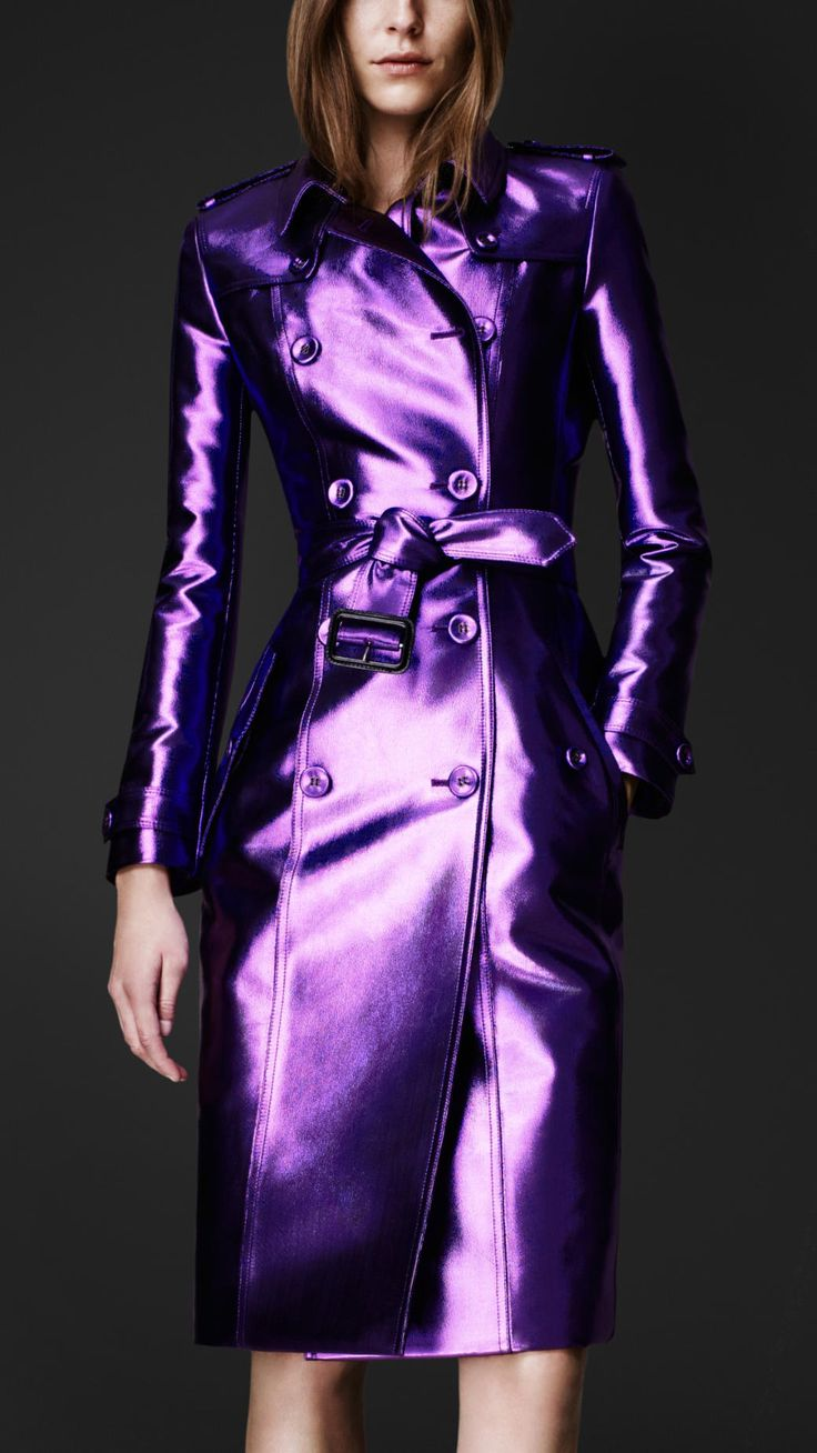 A dramatic interpretation of the classic trench coat in an iridescent finish. Description from polyvore.com. I searched for this on bing.com/images