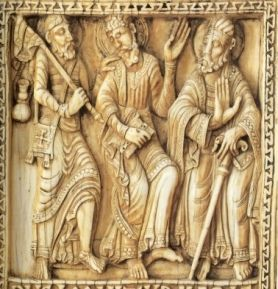The Journey to Emmaus. Ivory plaque from a reliquary, Léon, ca.1115-20. The Metropolitan Museuem of Art, NY