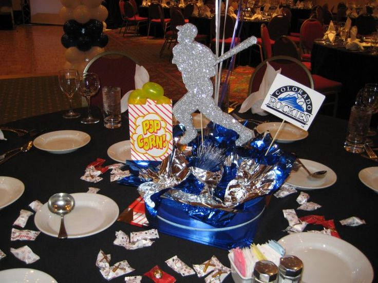 81 best images about banquet ideas on pinterest baseball for Athletic banquet decoration ideas