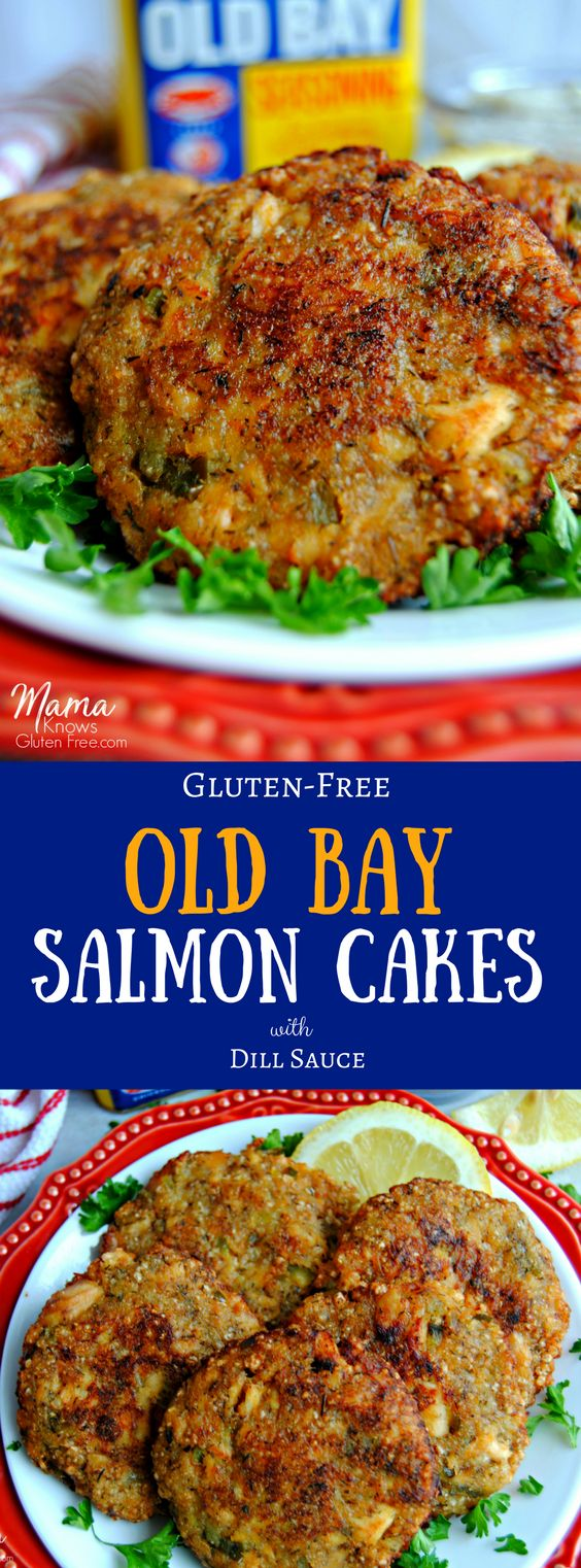 Easy gluten-free salmon cakes that are full of flavor from Old Bay and dill, crispy on the outside with tasty bites of salmon with a creamy dill sauce. These easy and quick salmon cakes will become a family favorite dinner!
