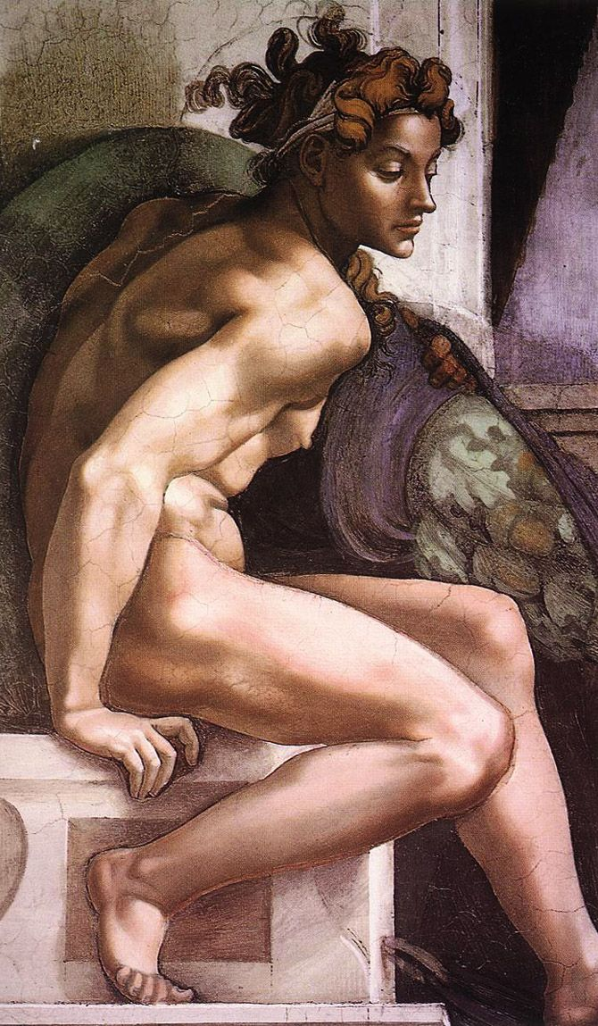 Sistine Chapel - Ignudo 1 by Michelangelo Buonarroti