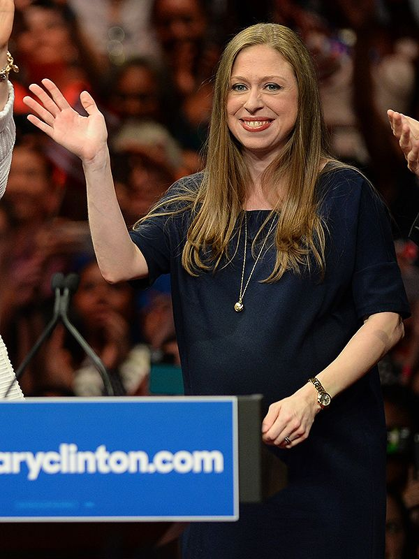 Pregnant Chelsea Clinton Joins Triumphant Mom Hillary Onstage as She Makes History as First FemaleNominee http://celebritybabies.people.com/2016/06/08/pregnant-chelsea-clinton-with-hillary-in-brooklyn/
