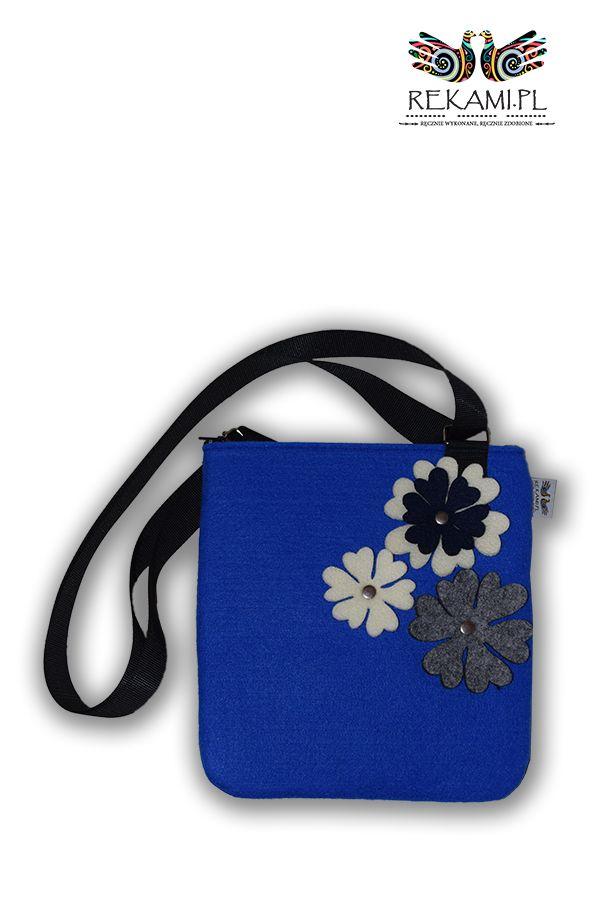 Niebieska listonoszka dziecięca z kwiatem ecru