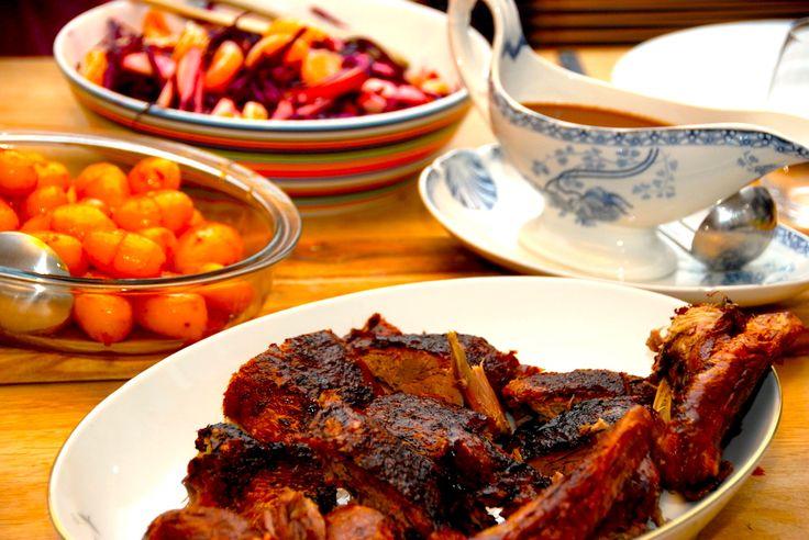 Mortensaften menu med and, sovs og dessert