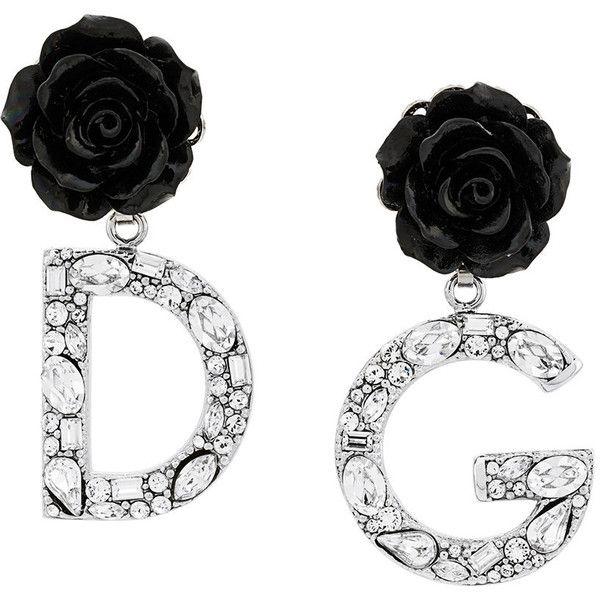 Dolce & Gabbana rose logo drop earrings (46.050 RUB) ❤ liked on Polyvore featuring jewelry, earrings, black, logo jewelry, rose jewellery, floral drop earrings, rose jewelry and floral jewellery
