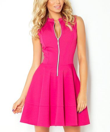 Loving this Pink Zip-Up Fit & Flare Dress on #zulily! #zulilyfinds