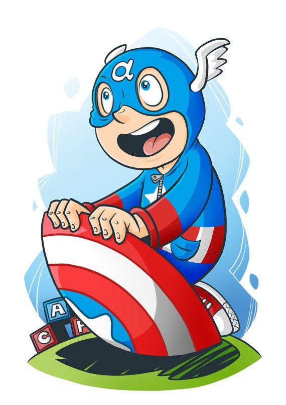 Kid Captain America by chrismcquinlanart on Etsy