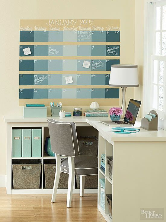 Get organized with a gorgeous chalkboard calendar. First, paint a neutral base coat for the wall calendar. After it is dry, use a pencil to map out each section. Color each day with a different shade by gradually mixing a lighter hue into your base color. Finish by using chalkboard markers to designate the days and month./