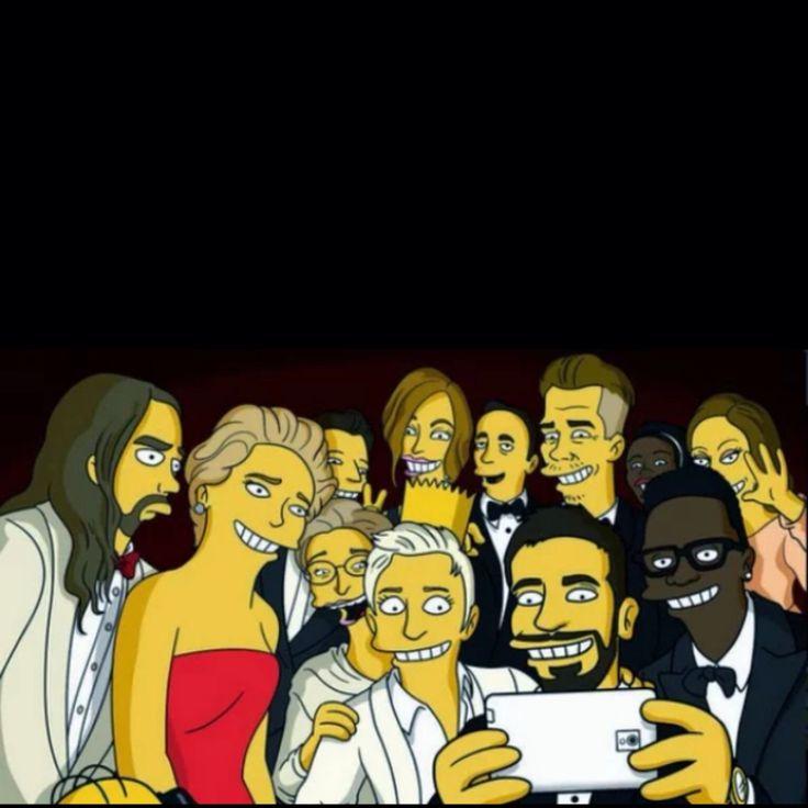 Adoro O criador de Os Simpsons, Matt Groening, fez uma versão do selfie dos famosos no Oscar.