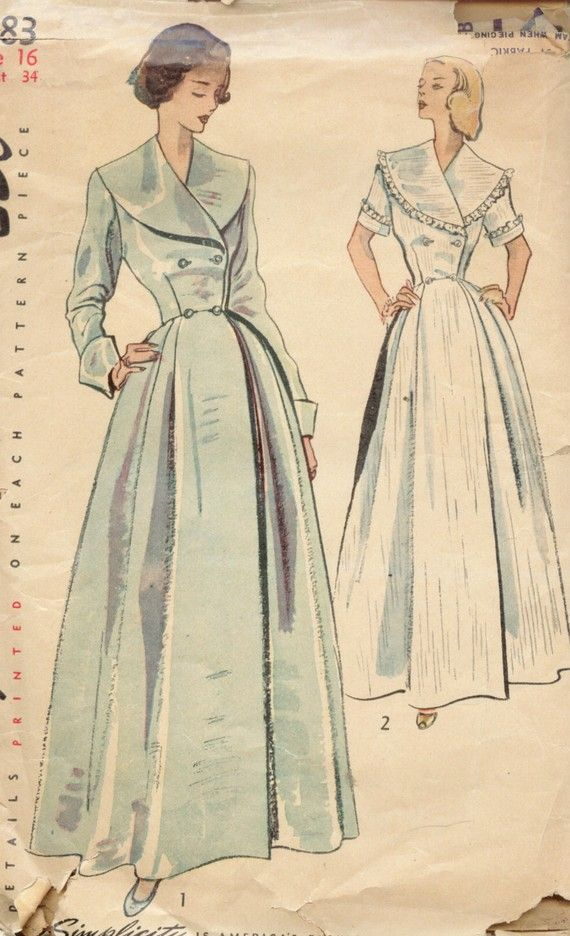 vintage 1950s robes | Vintage 1950's Misses' Coachman Robe Pattern, Double Breasted Bodice ...