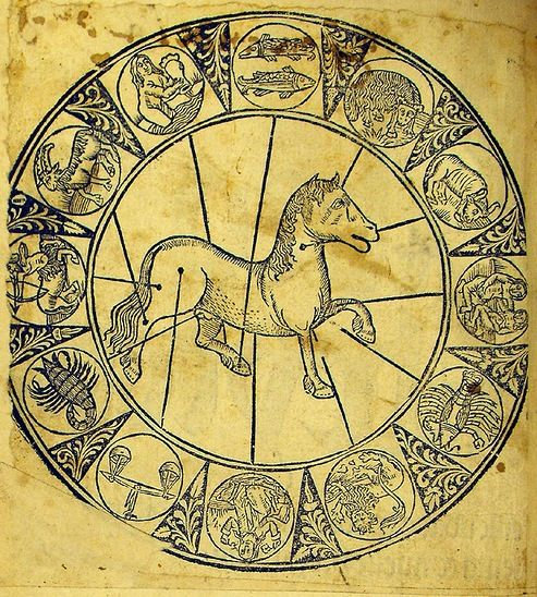 Diaz, Manuel: «Llibre de menescalia»; by Diaz (Manuel, Spanish]. Libro de albeyteria. Valladolid: Juan de Burgos, 30 Sept. 1500. -- Woodcut chart (f°a1v) showing the relation of the zodiac to the parts of the horse and individual zodiac signs. [University of Glasgow Library, Ms Sp Coll Hunterian By.3.1.].