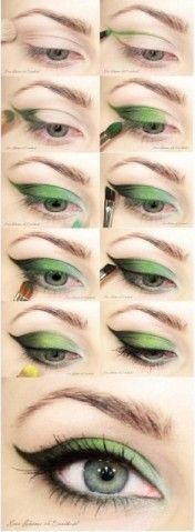 green eye shadow: Makeup Nails, Day Makeup, Cat Eyes, St. Patrick'S Day, Green Eye Makeup, Green Eye Shadows, Green Eyeshadows, Green Eyes Makeup, Eye Makeup Tutorials