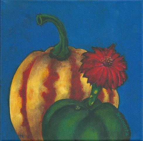 2016, Pumpkin with blooming cactus, acrylic on canvas, Angela Kuckartz