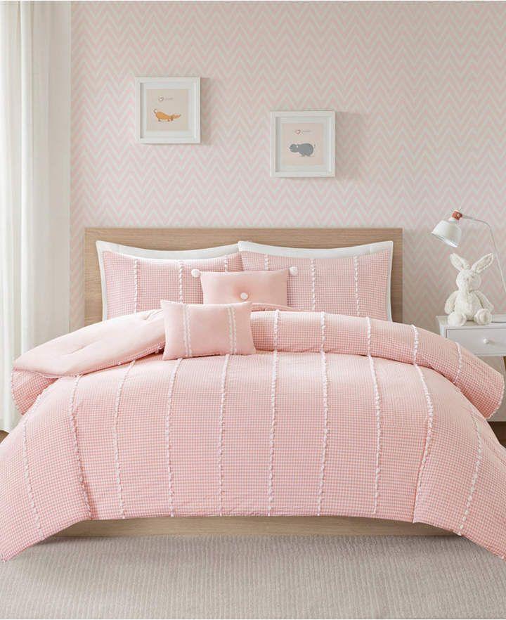 Jla Home Urban Habitat Kids Ayden Full Queen 5 Piece Cotton Gingham Comforter Set With Jacquard Pompoms Bedding Pink Bedroom Design Bedroom Design Jla Home