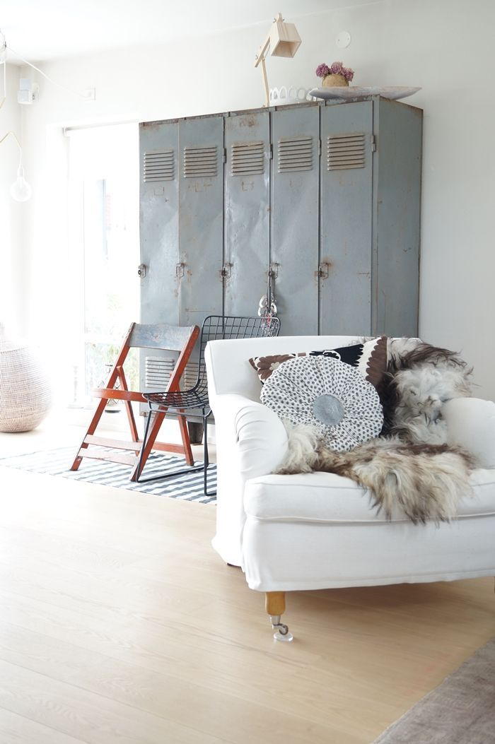 A set of vintage lockers are a perfect way to add interest and storage to a room.