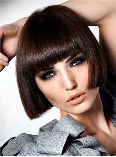 Boutique Cute Short Bob Hairstyle 100% Human Hair Wig Straight