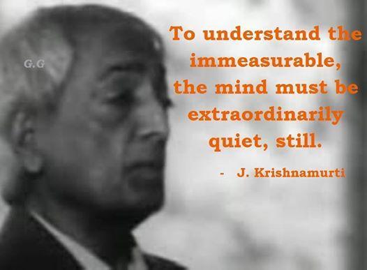 """""""Para comprender lo inconmensurable, la mente debe estar extraordinariamente quieta, tranquila"""":"""