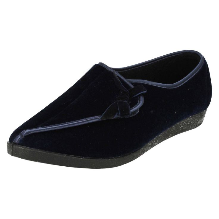 Ladies Four Seasons Navy Slippers Style Martha