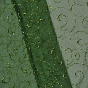 Clover Green Organza Swirl  www.KateRyanLinens.com  Wedding & Event Table Linen Rentals