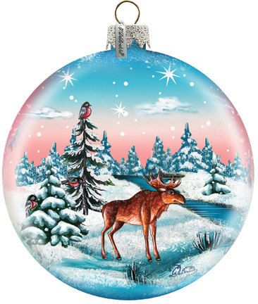 Moose by the River Ornament Hand-painted Old by GDeBrekhtGallery