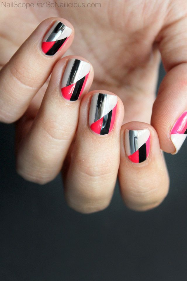 Funky nail art || two toned nails. click for how-to.