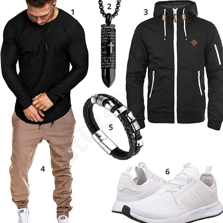 Bequemes Herren-Outfit mit schwarzem Amaci&Sons Longsleeve, MT Styles Hose, Solid Übergangsjacke, Patronen Anhänger, Halukakah Armband und weißen Adidas Schuhen. #outfit #style #fashion #ootd #männer #herren #outfit2017 #outfit #style #fashion #menswear #mensfashion #inspiration #shirt #cloth #clothing #styling #sneaker #menstyle #inspiration
