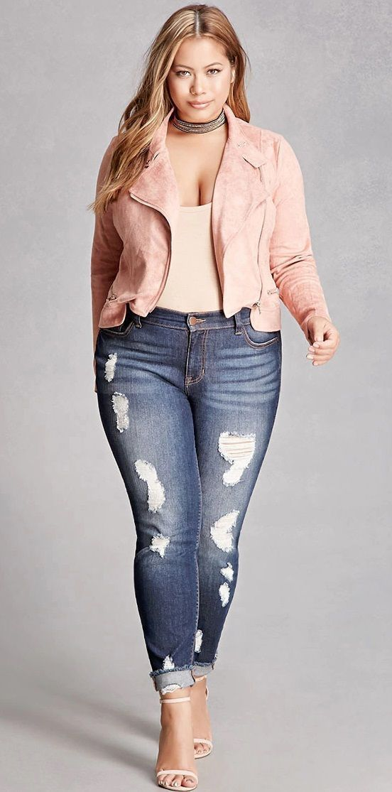 Plus Size Moto Zipper Jacket - Plus Size Fashion for Women #plussizesummeroutfits