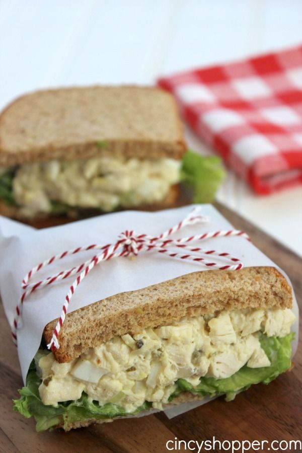 CopyCat Chick-fil-A Chicken Salad Sandwich Recipe 1 cup cooked Chicken Breast 1/4 cup diced Celery 1 diced Hard Boiled Egg 2 tbsp Sweet Pickle Relish 1/3 cup Mayonnaise Salt & Pepper to taste 4 slices Wheat Bread Leaf lettuce