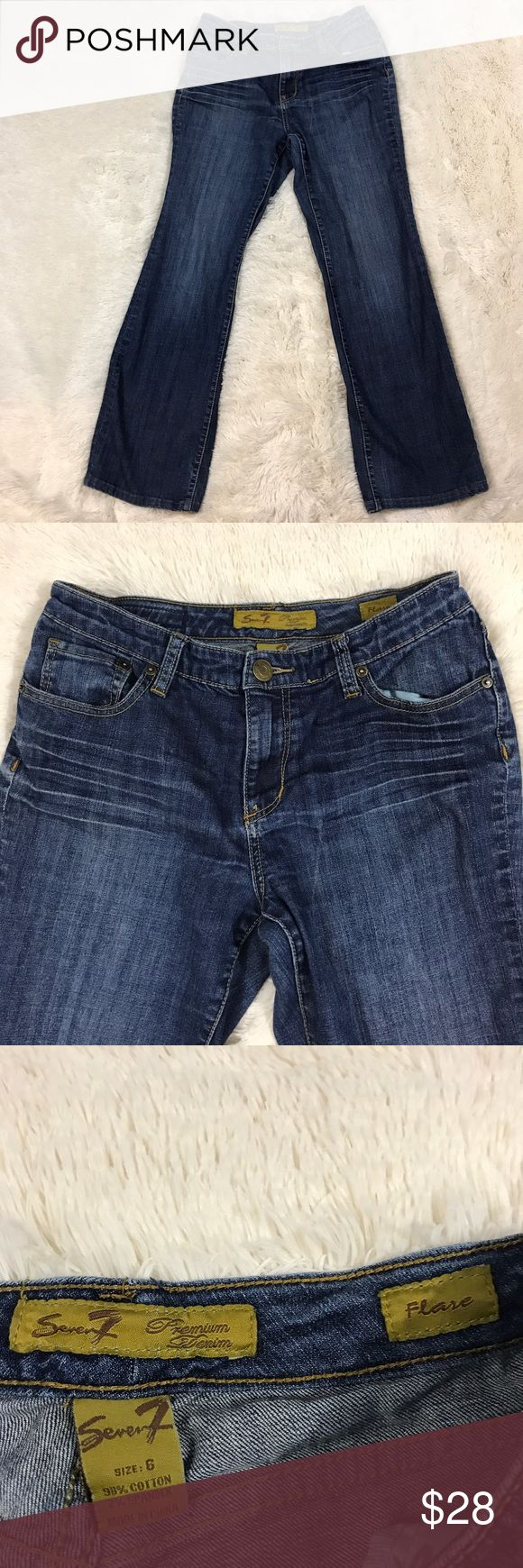 Seven7 Flare Jeans Size 6 Women's size 6 dark wash Seven7 flare jeans. 98% cotton, 2% spandex. Seven7 Jeans Flare & Wide Leg