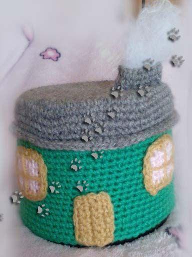 Guarda-cds casita  (para ver más ir al blog) #crochet #ganchillo #lana #diy