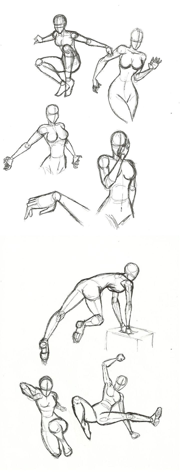 Dynamic Pose practice by SykoZombieChick.deviantart.com on @deviantART                                                                                                                                                     More