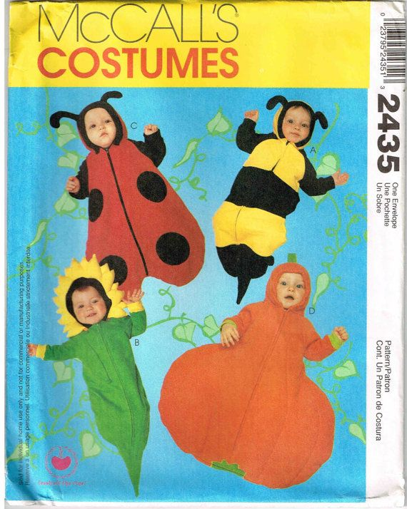 infants sunflower pumpkin bumble bee and baby ladybug sewing pattern mccalls 2435 by peoplepackages - Childrens Halloween Costume Patterns