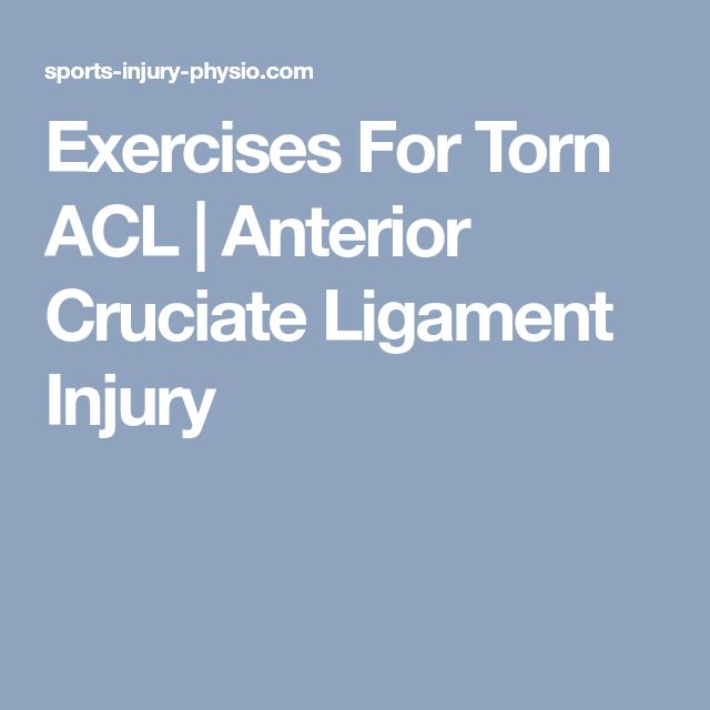 Exercises For Torn ACL | Anterior Cruciate Ligament Injury