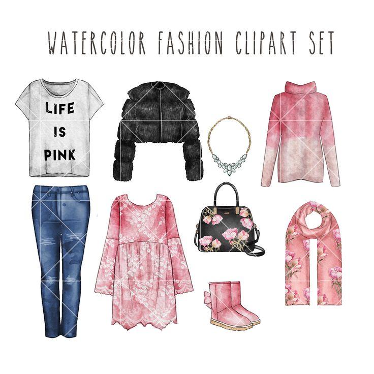 Watercolor digital illustration - watercolor fashion clip art set by TheGGShop on Etsy