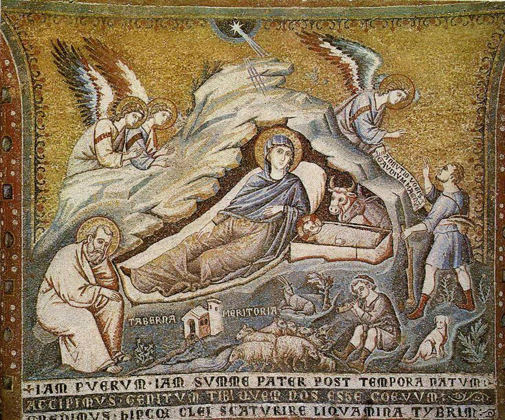 Пьетро Каваллини. . «Рождество Христово».  1291, Рим, церковь Санта Мария ин Трастевере. Мозаика.