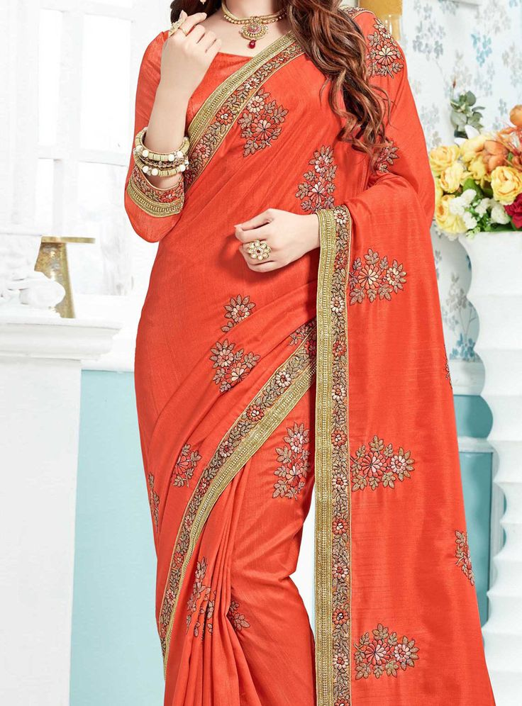 Buy Yuvika Chaudhary Orange Bhagalpuri Patch Lace Work Saree 103836 with blouse online at lowest price from vast collection of sarees at m.indianclothstore.c.