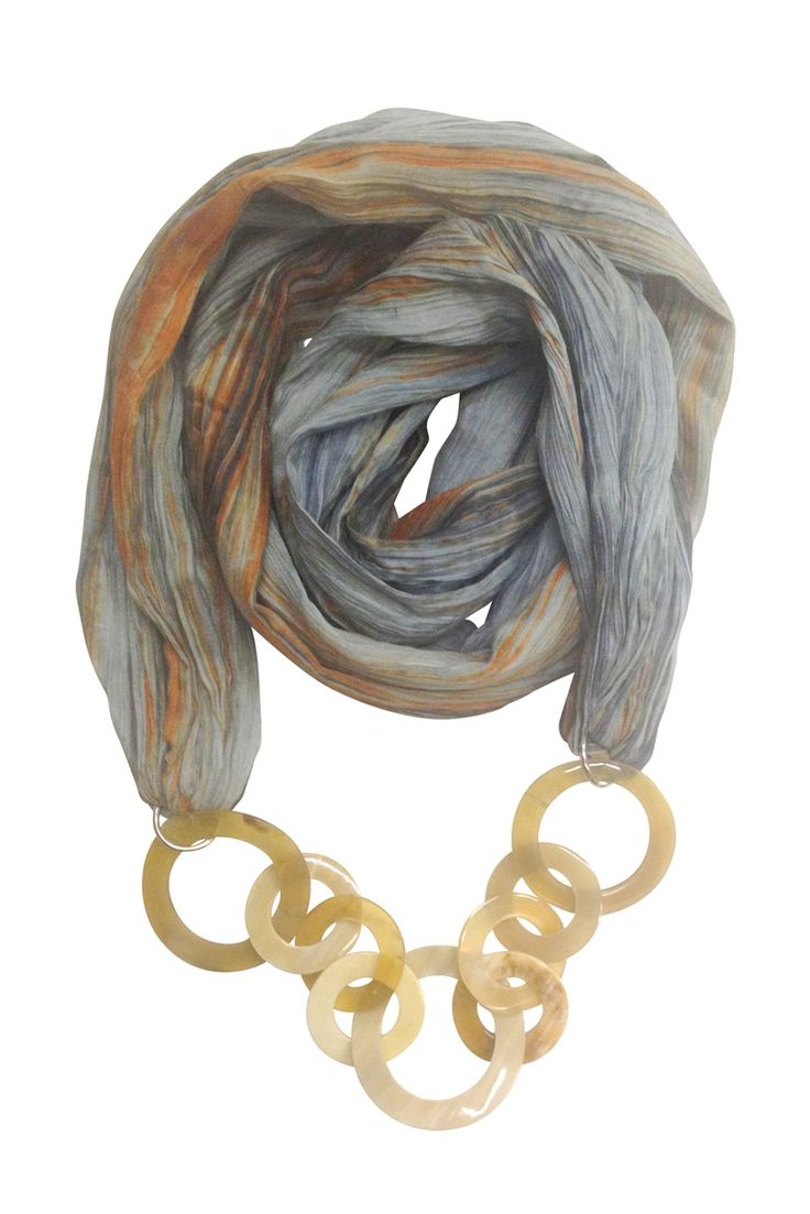 Scarf with rings marble grey base. Second image is more representative in