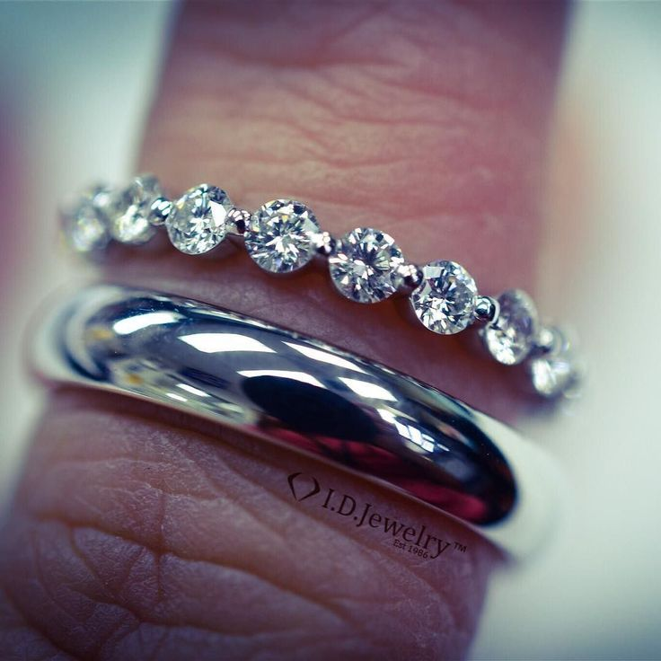 It's #wbw...that's short for wedding band Wednesday. This stunning his and hers platinum wedding bands are the bees knees if you know what I mean ...I hope you do cause I never understood what that meant...regardless these bands are timeless. The classic half domed men's band paired with a stunning floating diamond eternity band. #weddingbandwednesday is ending on a great note!! Stay tuned for our next #wcw...it'll be doozy  #idjewelry #idjsparkle #idjbling #idj #wedding #weddingbands…