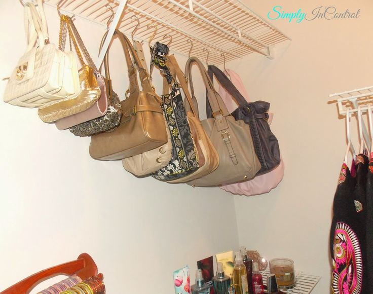 Closet Organization - How to Give your Apartment Closet a Boutique Feel! Use S-hooks to hang purses!