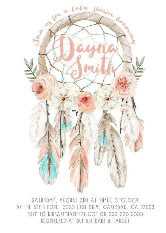Bring in the baby girl or boy in your life with this unique, boho baby shower invitation with watercolor flowers, feathers, and a detailed