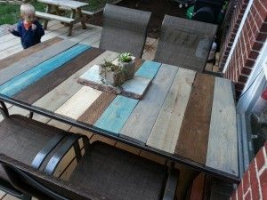 Pallet Patio Table--love the colors, maybe yellow, turquoise, oranges? with dark and light stains?