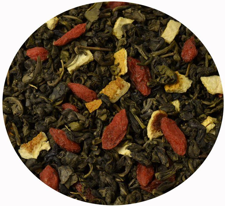 """""""Té Verde Vitalidad"""", té verde con ginseng, bayas de goji, aloe vera y piel de naranja.  7€/100gr."""