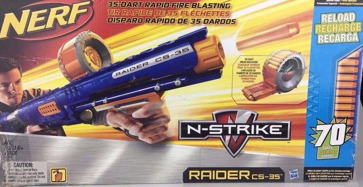 NERF N-STRIKE RAIDER Rapid Fire CS-35 Dart Gun Drum Mag 70 Darts NIB Damaged Box #NERF