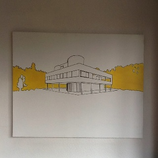 Le Corbusier - Villa Savoie, Poissy, Paris. Permanent marker and acrylic on canvas.