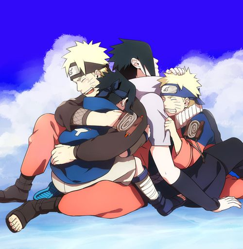 Naruto and Sasuke, young and old.